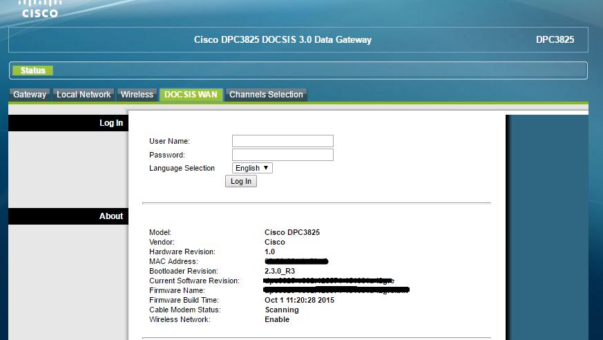 Accediendo al Modem Cisco DPC3825 DOCSIS 3 0 de Fibertel