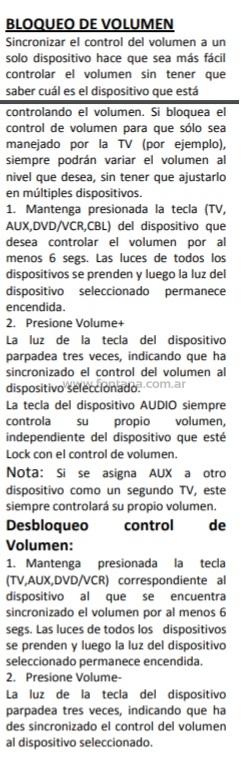 bloqueo volumen control remoto aconcagua